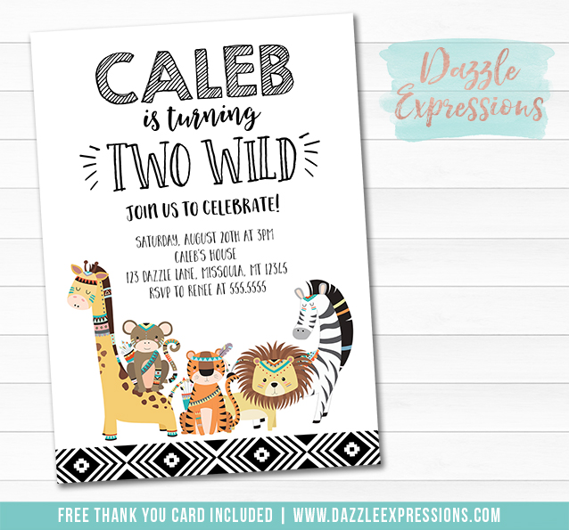 Two Wild Jungle Invitation 1 - FREE thank you card included