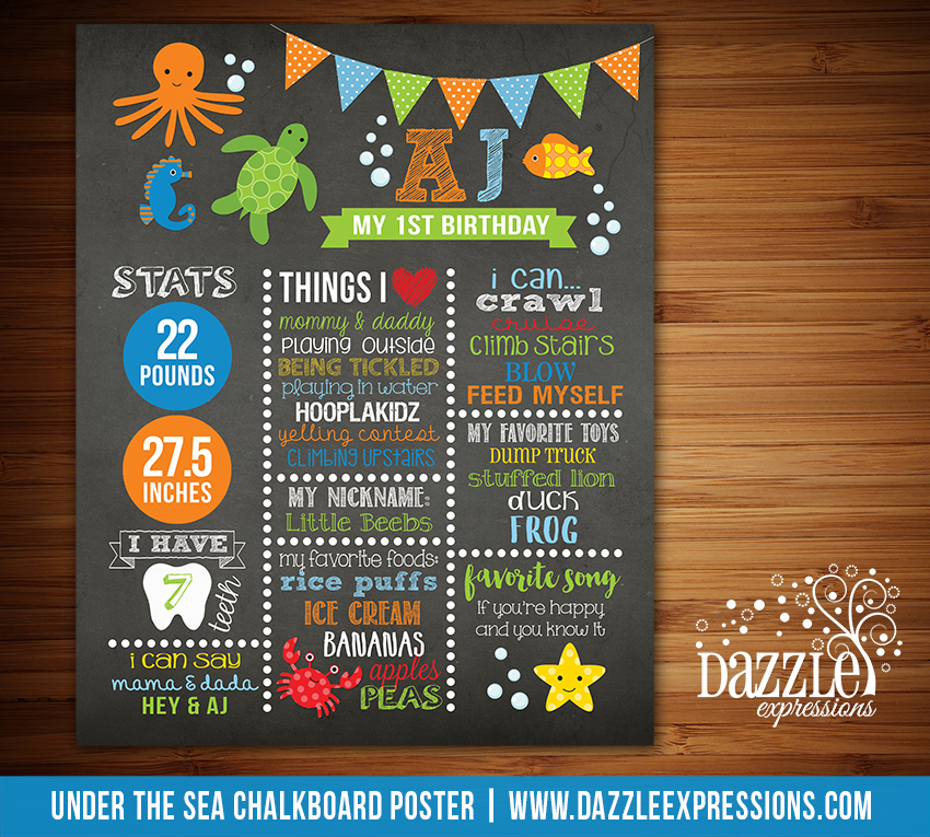 Printable Under the Sea Chalkboard Poster