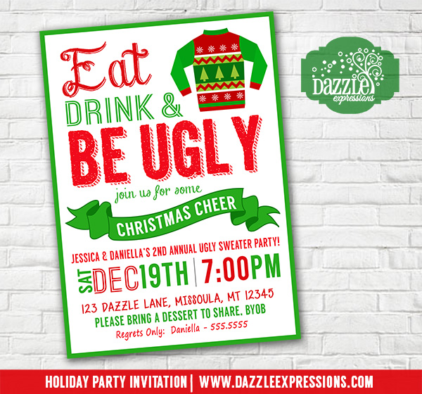 Printable Tacky Or Ugly Sweater Christmas Party Invitation Red And