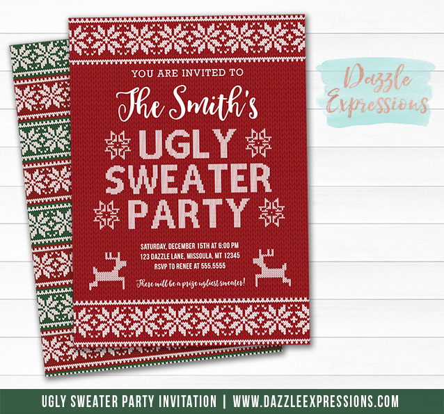 Printable Ugly Sweater Christmas Party Invitation Knit Invitation