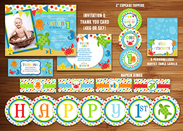 Printable Under The Sea Birthday Party Package Decorations Ocean
