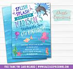 Under the Sea Watercolor Invitation - FREE thank you card