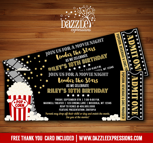 printable under the stars movie ticket birthday invitation