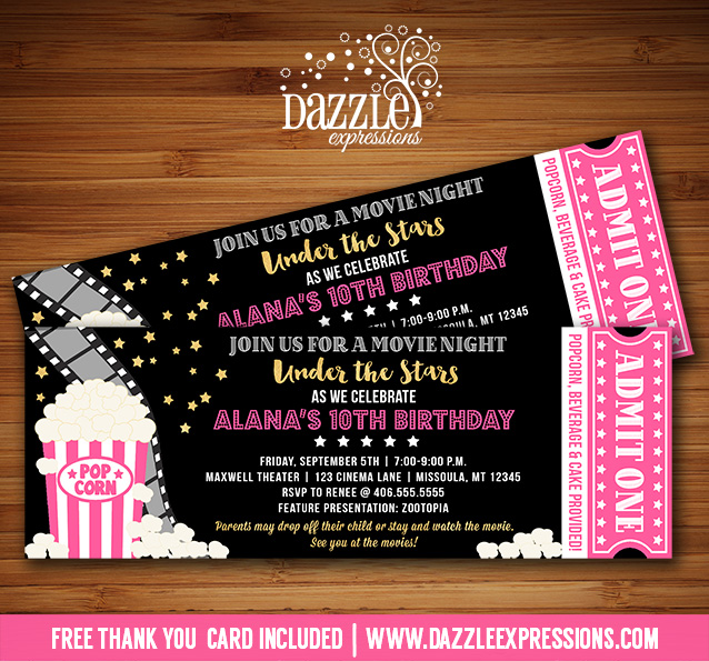 printable under the stars movie ticket birthday invitation pink