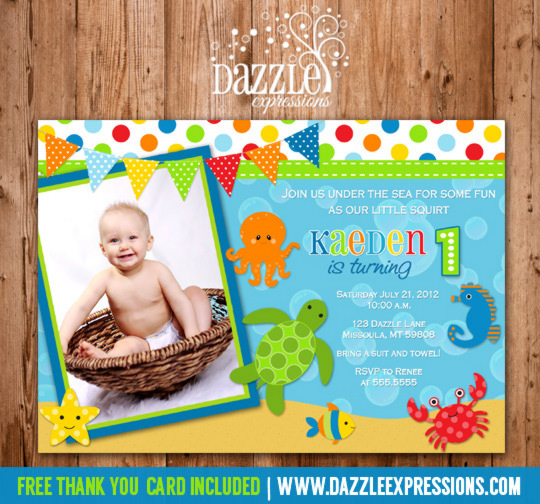 Printable under the sea birthday photo invitation boy first under the sea invitation 2 free thank you card included filmwisefo