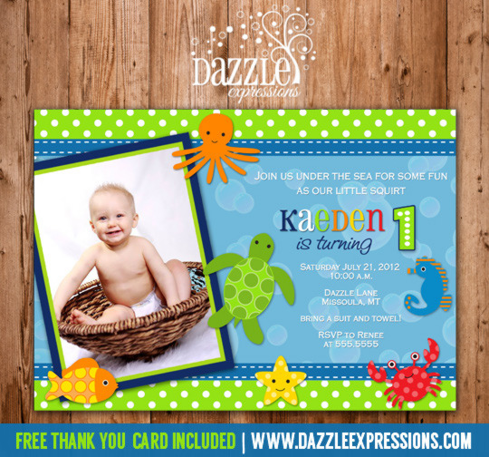 Under the Sea Invitation 1 - FREE Thank You Card Included