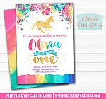 Unicorn Birthday Invitation 3 - FREE thank you card included