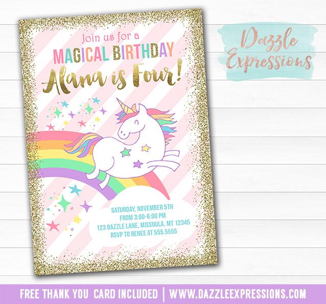 Printable Magical Unicorn Birthday Invitation - Glitter ...