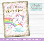 Unicorn Birthday Invitation 4 - FREE thank you card included