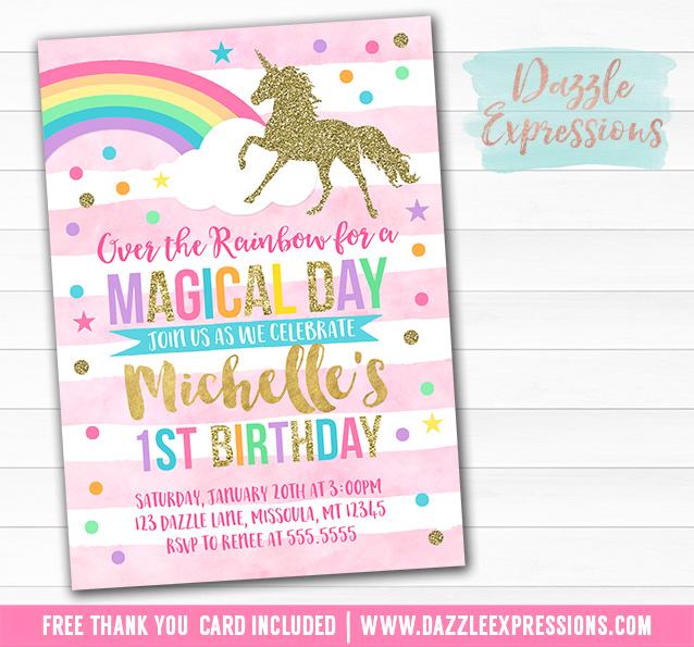 printable pink and gold glitter unicorn birthday
