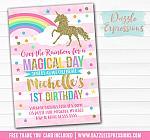 Unicorn Birthday Invitation 5 - FREE thank you card included