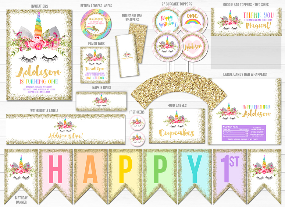 Printable Unicorn Face and Gold Glitter Birthday Party Package - Invitation - Girls Magical 1st ...