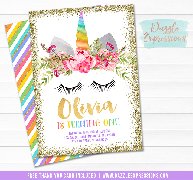 printable unicorn face birthday invitation gold glitter and