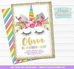 Unicorn Birthday Invitation 7 - FREE thank you card in and back side