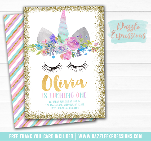 Printable Unicorn Face And Gold Glitter Birthday Invitation