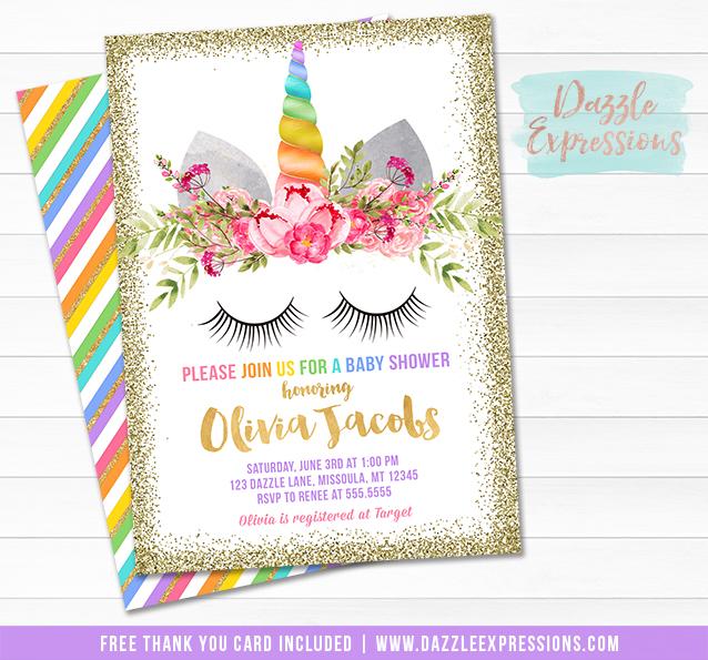 Unicorn Baby Shower Invitation 2 - FREE thank you card