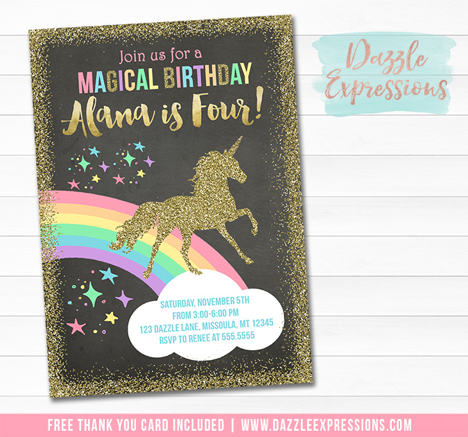 printable unicorn chalkboard birthday invitation