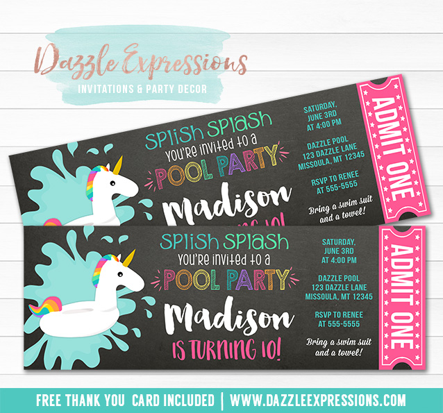 Unicorn Float Pool Party Chalkboard Ticket Invitation - FREE thank you card