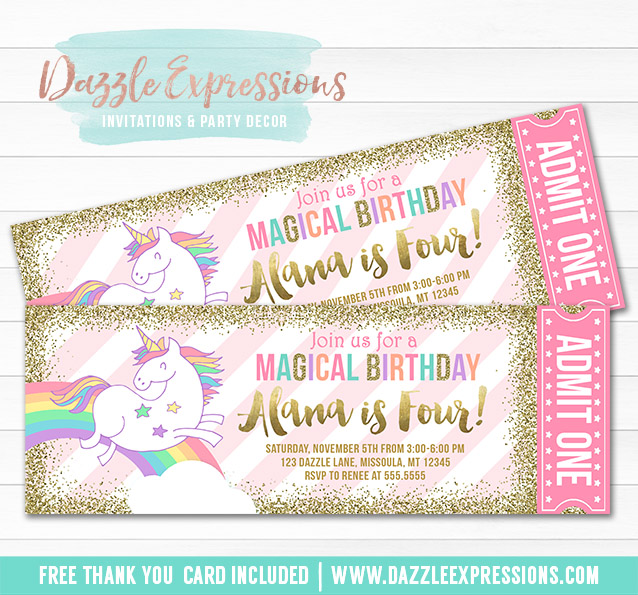 printable magical unicorn birthday invitation glitter gold and