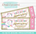 Unicorn Glitter Ticket Invitation 4 - FREE thank you card