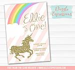 Unicorn Birthday Invitation 10 - FREE thank you card included