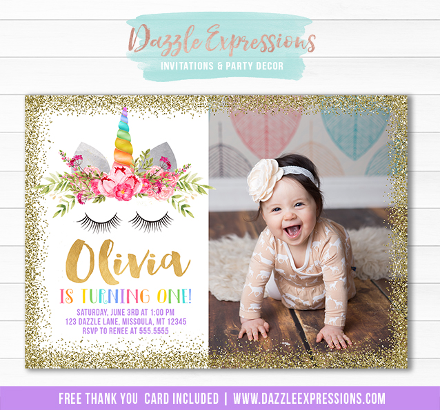 Printable Unicorn Face and Gold Glitter Ticket Birthday ...