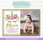 Unicorn Birthday Invitation 12 - FREE thank you card included