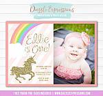 Unicorn Birthday Invitation 9 - FREE thank you card included