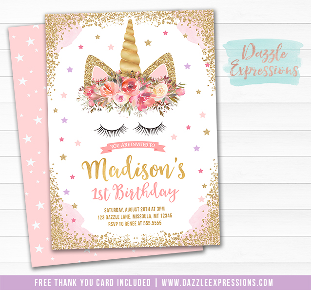 Printable pink and gold glitter unicorn birthday invitation unicorn birthday invitation 14 free thank you card filmwisefo