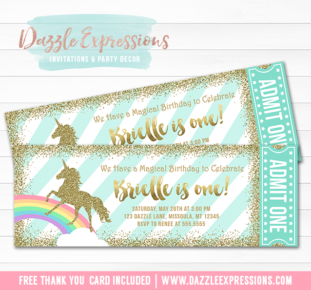 Unicorn Glitter Ticket Invitation 2 - FREE thank you card