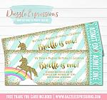 Unicorn Glitter Ticket Invitation 2 - FREE thank you card