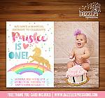 Unicorn Birthday Invitation 2 - FREE thank you card included