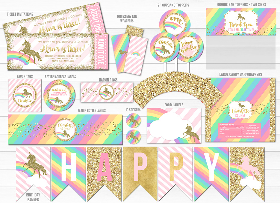 Unicorn Glitter Complete Party Package 1 - Printable