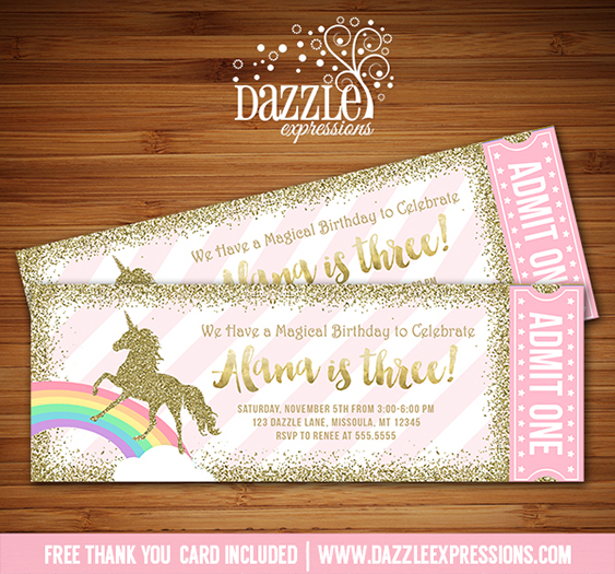 Printable Pink and Gold Glitter Unicorn Ticket Birthday ...