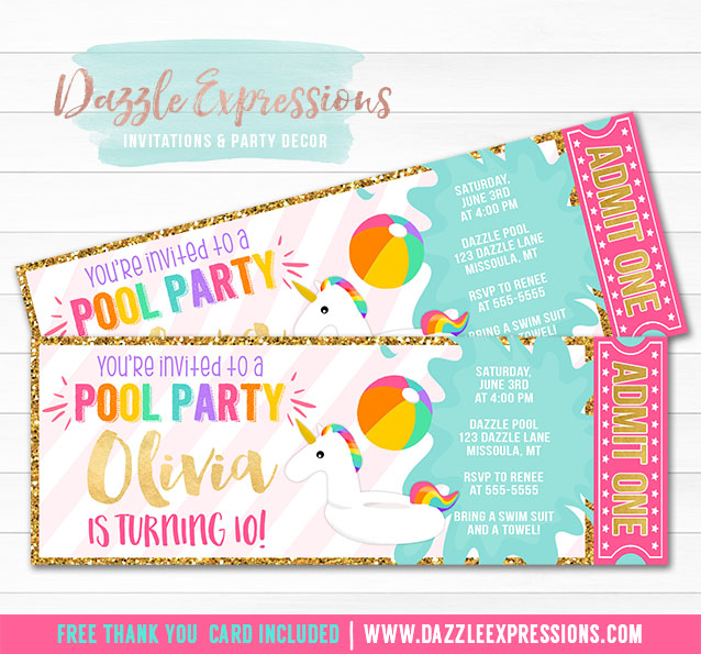 printable unicorn float pool party ticket invitation girls summer