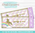 Unicorn Glitter Ticket Invitation 3 - FREE thank you card