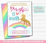 Unicorn Birthday Invitation 1 - FREE thank you card included