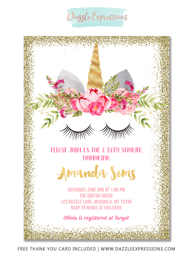Unicorn Baby Shower Invitation 1 - FREE thank you card