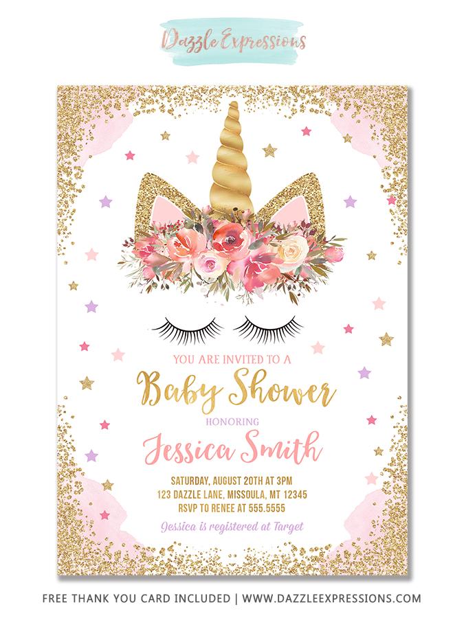 Unicorn Baby Shower Invitation 3 - FREE thank you card