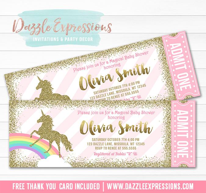 Unicorn Glitter Baby Shower Ticket Invitation - FREE thank you card
