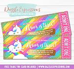 Unicorn Glitter Ticket Invitation 5 - FREE thank you card
