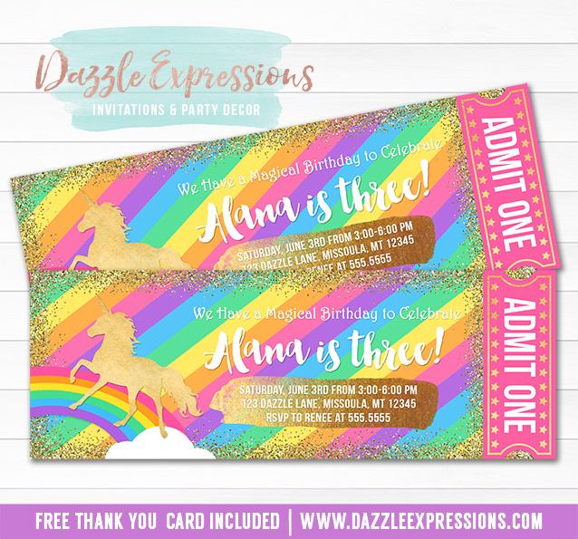 Unicorn Glitter Ticket Invitation 6 - FREE thank you card