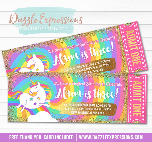 Unicorn Glitter Ticket Invitation 7 - FREE thank you card