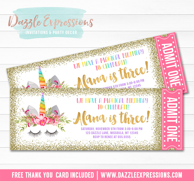 printable unicorn face and gold glitter ticket birthday