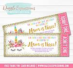 Unicorn Glitter Ticket Invitation 11 - FREE thank you card included