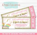 Unicorn Ticket Invitation 9 - FREE thank you card included