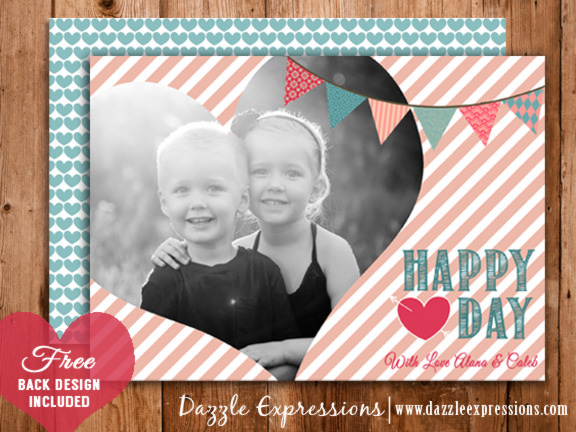 Valentines Day Photo Card 3 - FREE back side