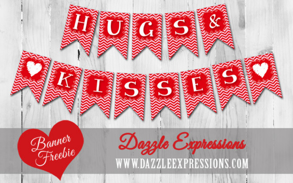 Hugs and Kisses Printable Banner