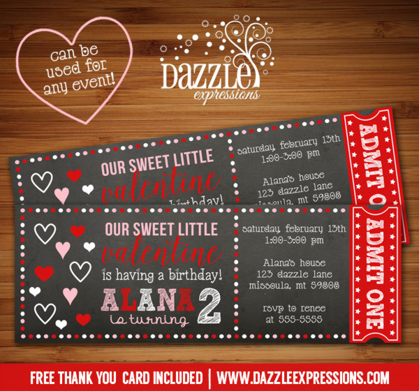 Valentines Day Chalkboard Ticket Invitation - FREE thank you card included