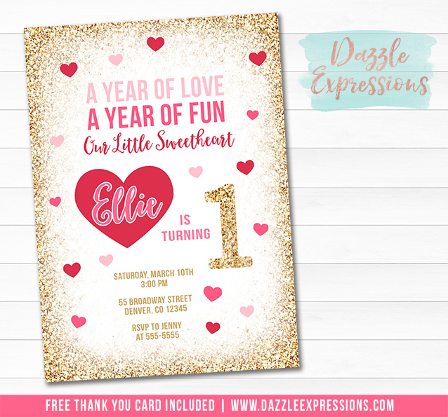 Valentines Day Birthday Invitation 1 - FREE thank you card